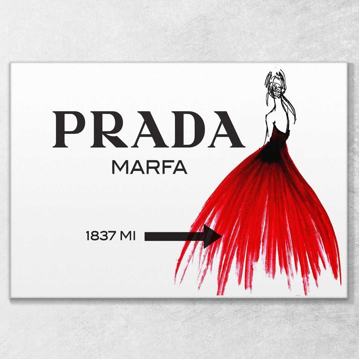 Prada Marfa bozzetto vestito rosso quadro stampa su tela pro50