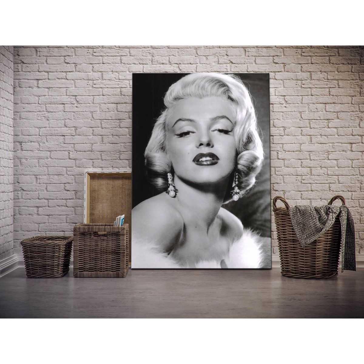 Quadro Marilyn Monroe sensuale posa in bianco e nero stampa su tela mrv136