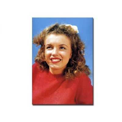 Quadro Marilyn Monroe sorridente primo piano abito rosso stampa su tela mrv140