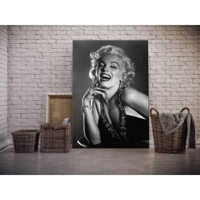 Quadro Marilyn Monroe da vicino sorridente bianco e nero stampa su tela mrv199