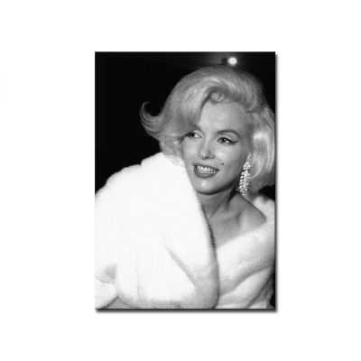 Quadro Marilyn Monroe da vicino sorridente bianco e nero stampa su tela mrv278