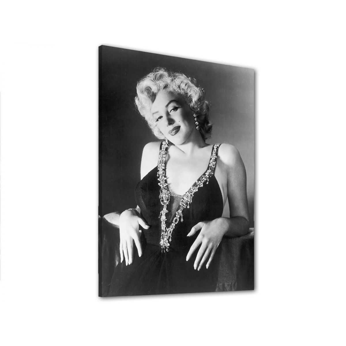 Quadro Marilyn Monroe da vicino sorridente bianco e nero stampa su tela mrv320