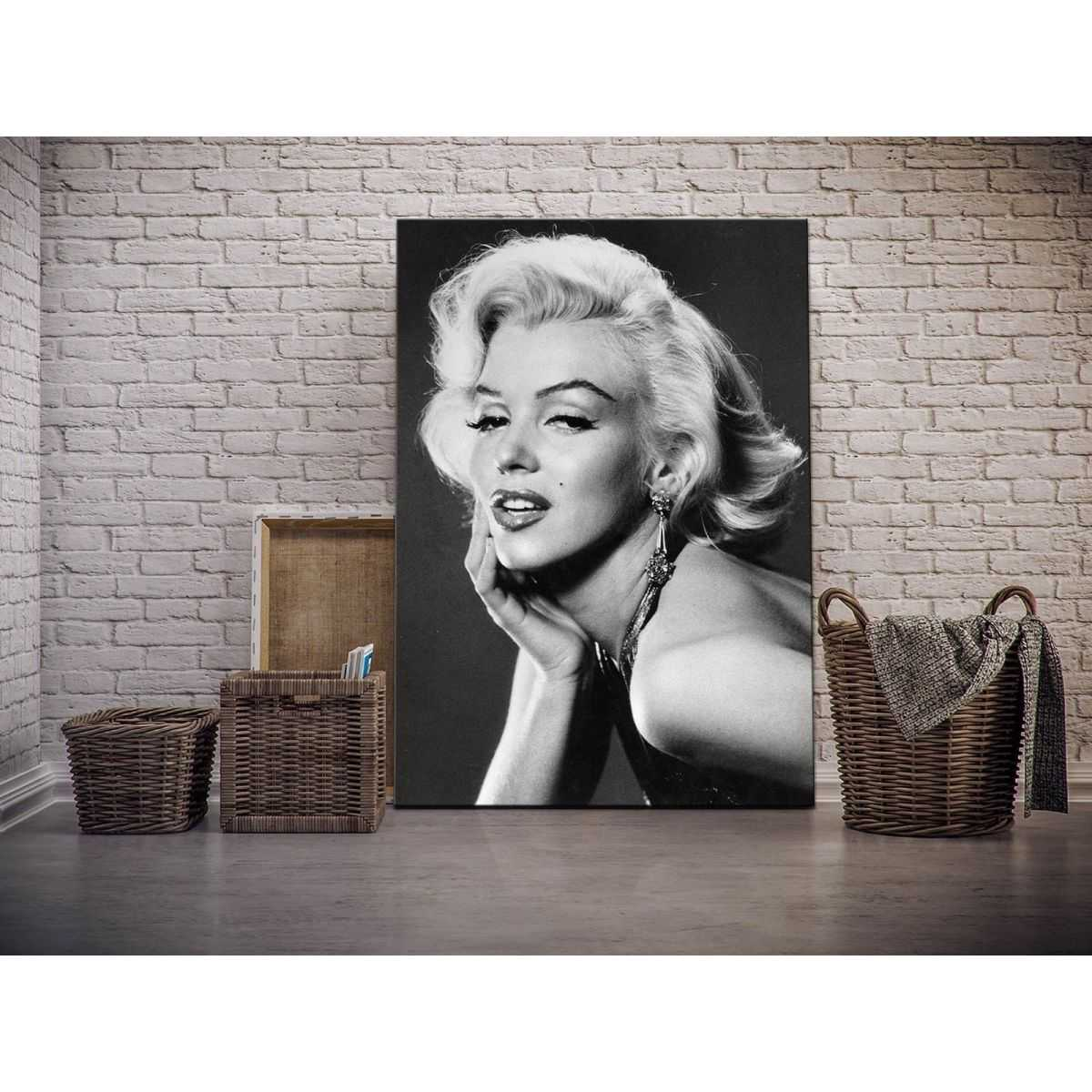 Quadro Marilyn Monroe posa sensuale bianco e nero moderno stampa su tela mrv345