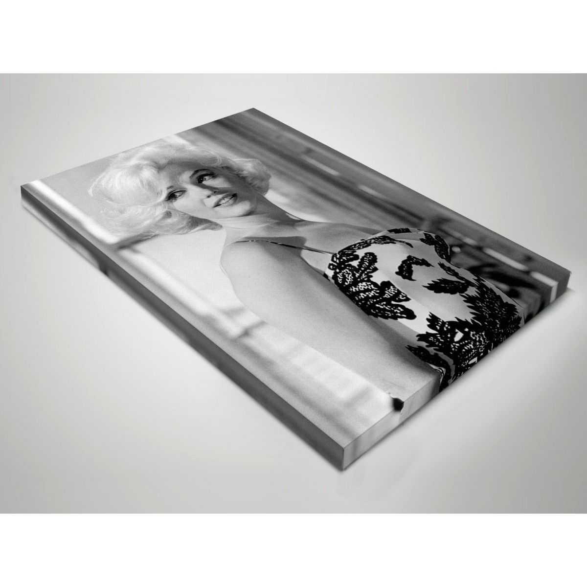 Quadro Marilyn Monroe alla finestra bianco e nero moderno stampa su tela mrv382