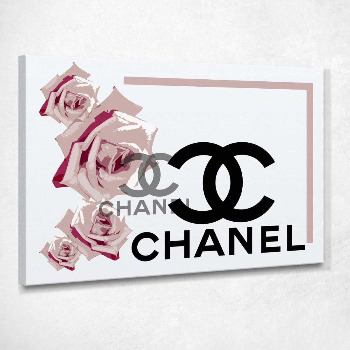 ❤️ Quadro Chanel rose rosa quadro moderno stampa su tela cho57