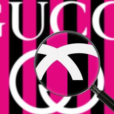 Quadro Gucci righe fucsia e nero stampa su tela guo2