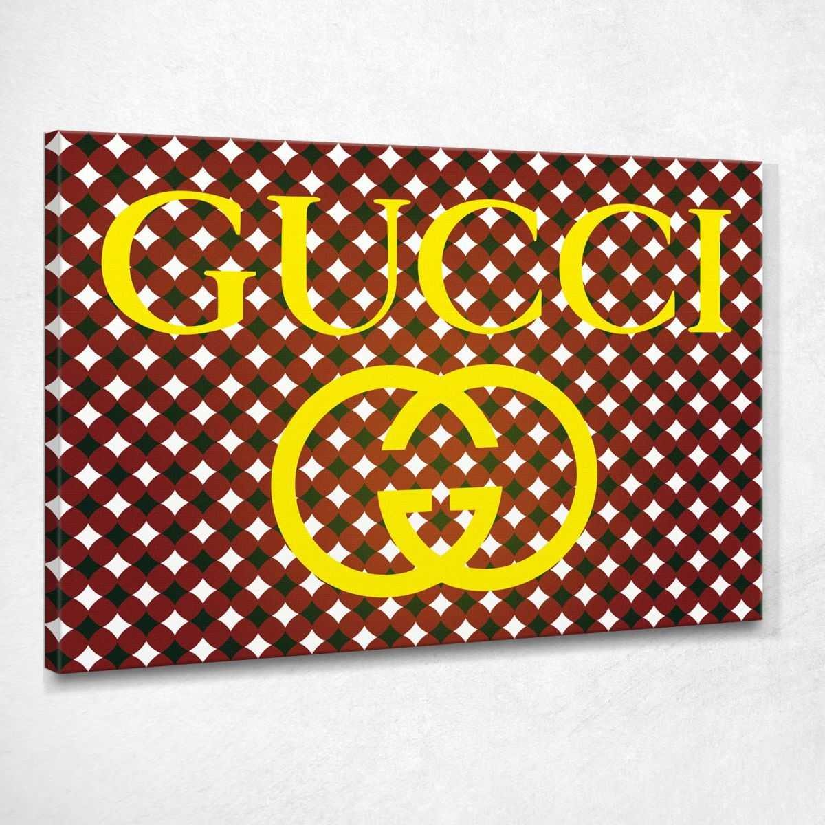 Quadro Gucci tappezzeria oro stampa su tela guo5
