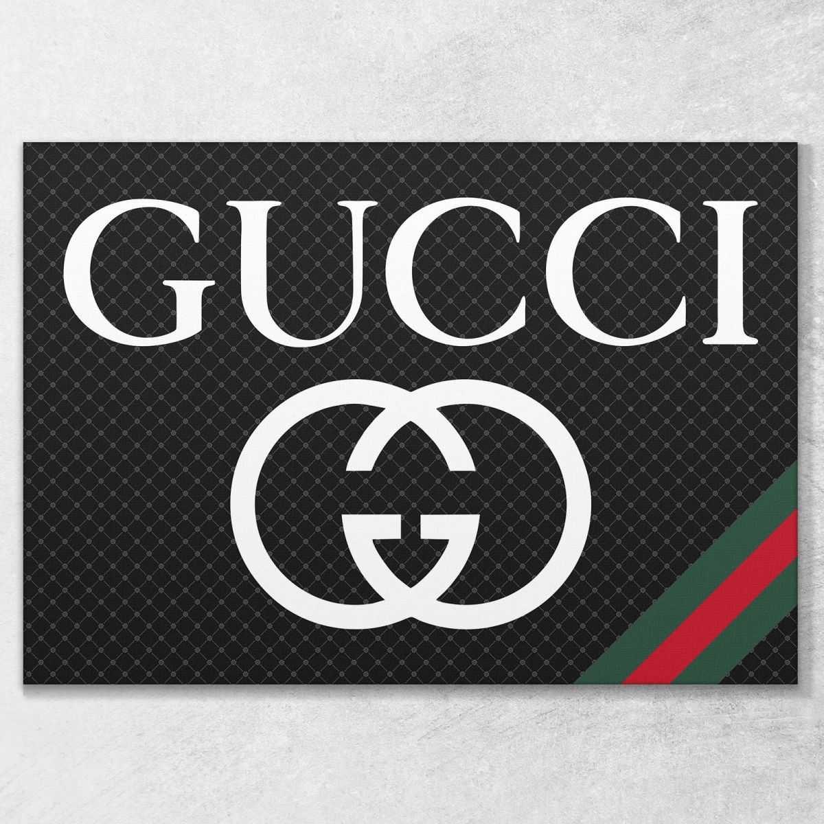Quadro Gucci banda nera e rossa stampa su tela guo6