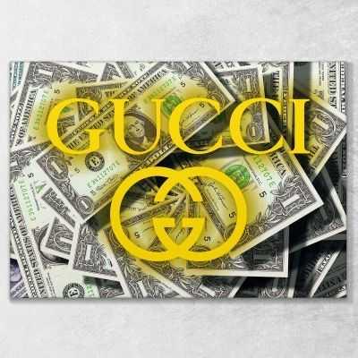Quadro Gucci dollari stampa su tela guo16