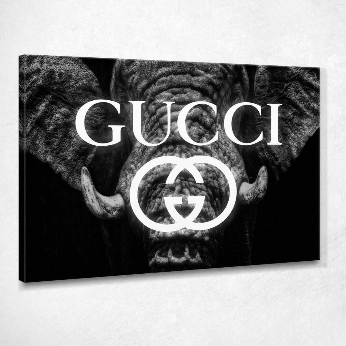 Quadro Gucci elefante bianco e nero stampa su tela guo19