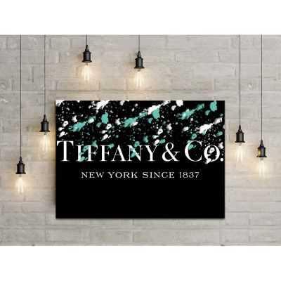 Quadro Tiffany & Co. macchie scritta quadro moderno stampa su tela tfo2