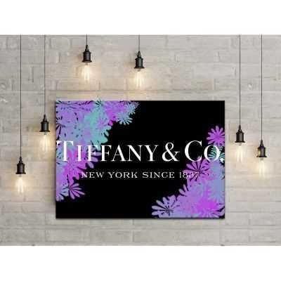 Quadro Tiffany & Co. fiori scritta quadro moderno stampa su tela tfo17