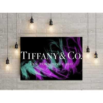 Quadro Tiffany & Co. sfondo nero scritta quadro moderno stampa su tela tfo18