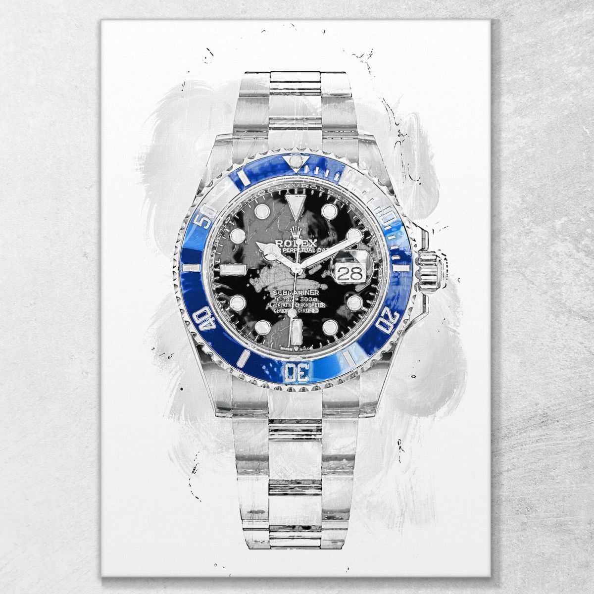 Quadro Rolex Submariner blue crown quadro orologio stampa su tela rl10