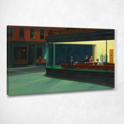 Nighthawks Nottambuli Edward Hopper quadro stampa su tela EHO31