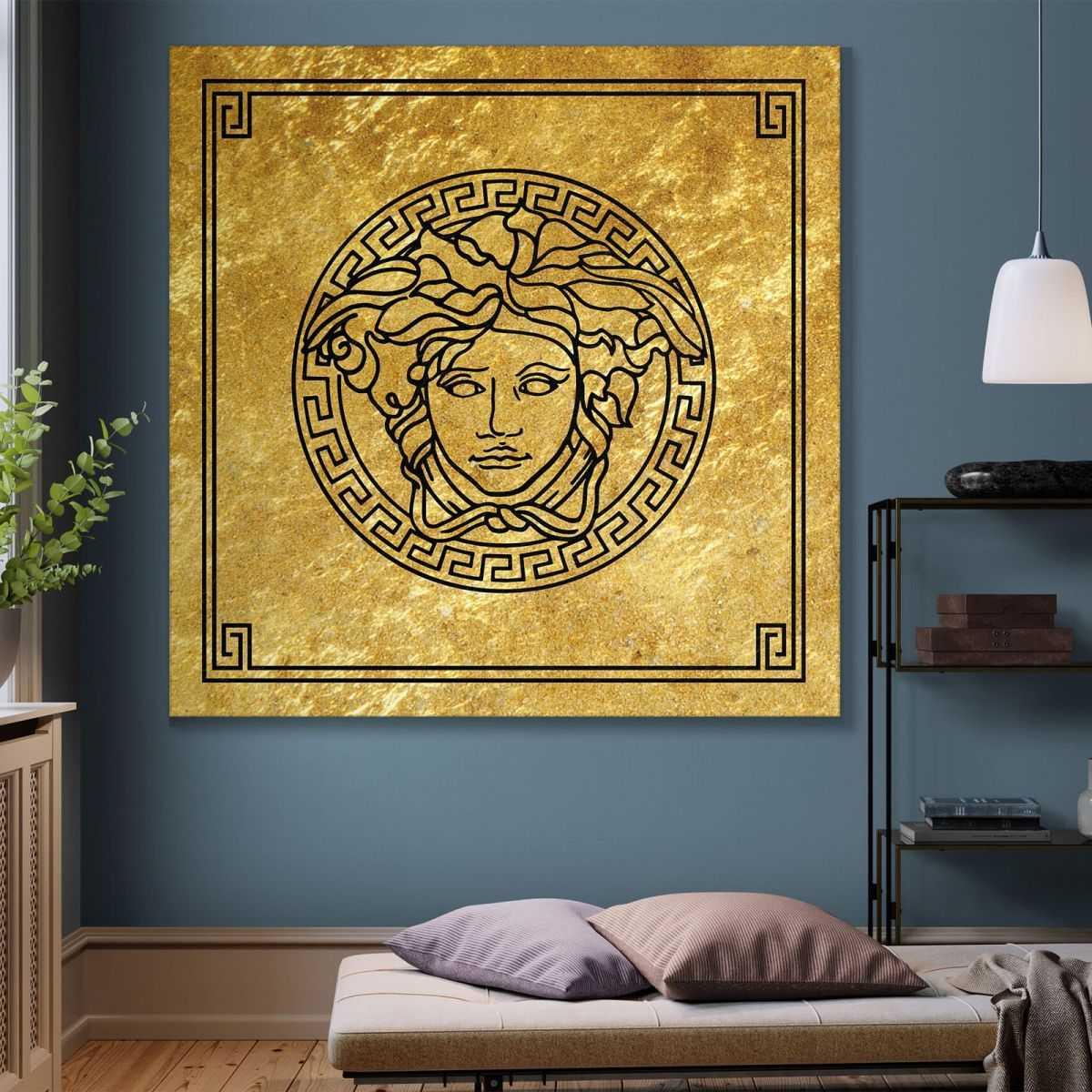 ❤ Quadro Versace medusa oro quadro stampa su tela ve7