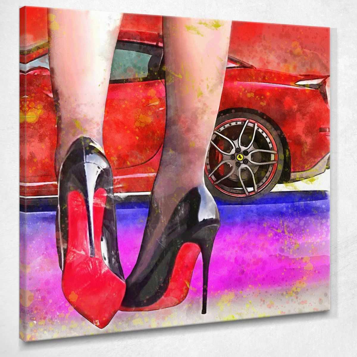 ❤ Quadro Louboutin la mia Ferrari scarpe con tacco donna stampa su tela ve1