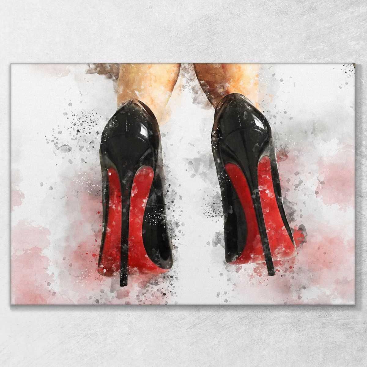 ❤ Quadro Louboutin scarpe da donna con tacco quadro stampa su tela ve3