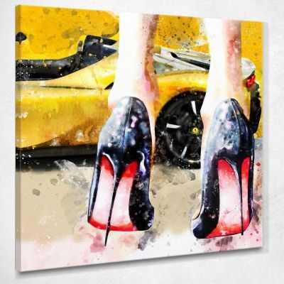 ❤ Quadro Louboutin la mia Porsche scarpe con tacco donna stampa su tela ve4