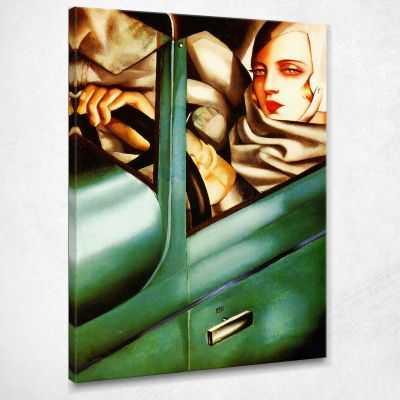 Autoritratto sulla Bugatti verde Tamara de Lempicka quadro LMT17