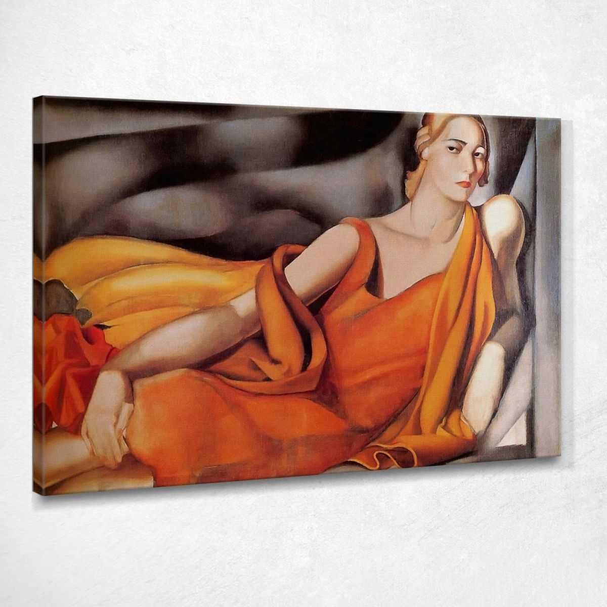 Donna in abito giallo Tamara de Lempicka quadro stampa su tela 100x70 cm LMT57