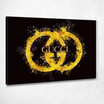 Quadro Gucci Logo Sfumatura Oro Nero stampa su tela GUO51